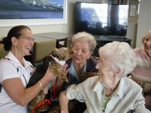 Ann, Muriel, Joyce, Jean Ruth and Joyce enjoying their wee furry friends!
